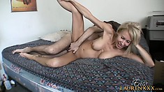 She gets fucked hard all over the bed and her adorable tits and ass sensuously shake