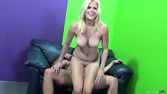 Busty blonde Kierstin Koyote rides on a cock and then has a chat