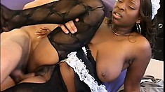 White boss having a great time with his raunchy chocolate maid