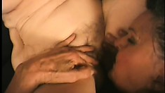 Horny old grannies get down and dirty, licking pussy on the couch