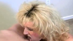 Mature slut spreads her pussy for young whore to lick