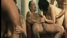 Older babes really coming loose at a massive swinger sex party