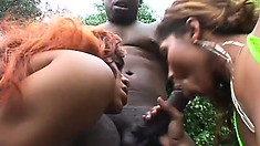 Two nasty ebonies get fresh with his dark meat outdoors and get fucked
