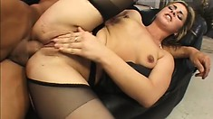 Horny black fucker penetrates a frisky girl's mouth-watering cunt