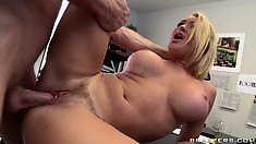 Licking busty babe's hairy twat and then ramming a deep one into it