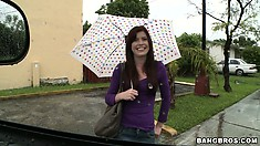 Sweet girl with umbrella is saved from pouring rain and fucked