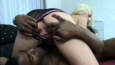 Stunning blonde takes every inch of a huge black stick deep in her ass