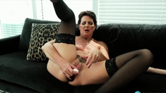 Katie amateur brunette girl toying pussy with a vibrator