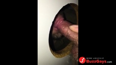 Shooting my load on the cocksucker's tongue at GH