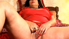 Busty MILF spreads her butt cheeks and toys with her nasty snatch